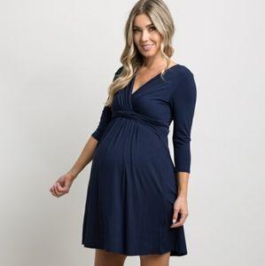 Navy Pink Blush 3/4 Sleeve Maternity Nursing Dress